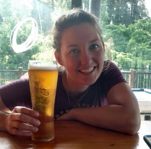 Caitlyn enjoying a craft beer.