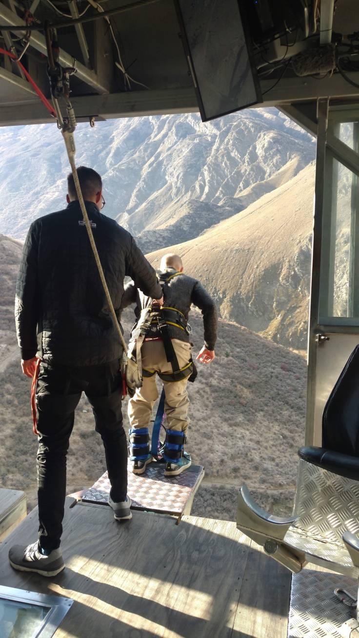 Jumping off platform AJ Hacket Nevis Bungy New Zealand
